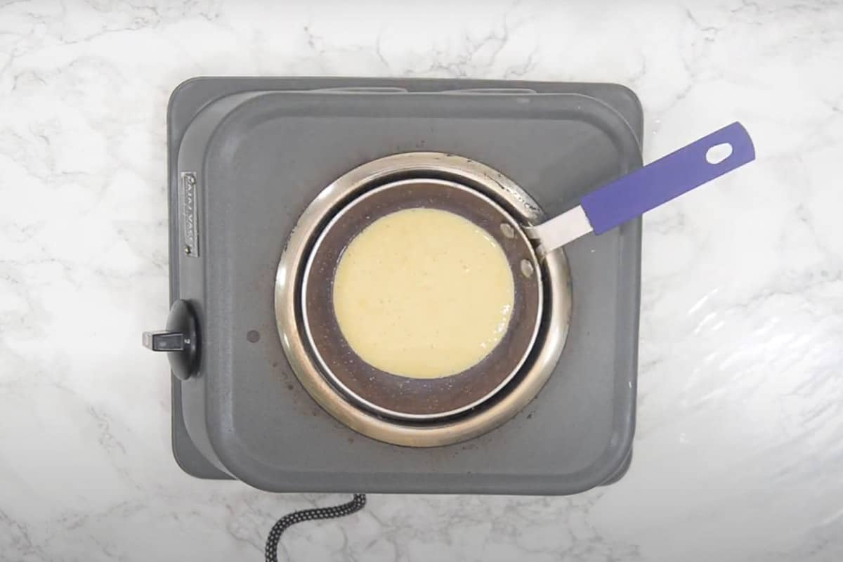 1/4 cup batter poured in the pan.