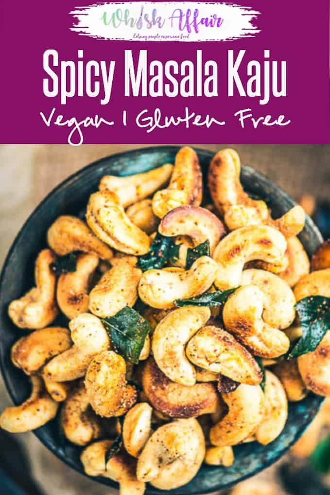 A bowl full of cashew nuts, toasted with ghee and just enough masala to satisfy that Indian soul of yours, this recipe of Spicy Masala Kaju is a keeper. #Diwali #DiwaliRecipe #DiwaliRecipes #IndianRecipes #IndianSnackRecipes #IndianFestival #IndianFestivalIdeas #DiwaliIdeas #DrySnack #Indian DRy Snacks #DrySnacksRecipes #CashewNut recipes