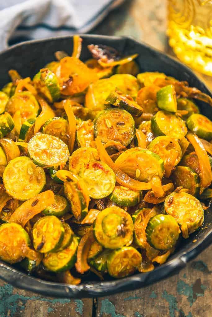 close up view of tindora fry