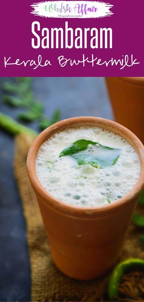 Sambaram is Kerala style buttermilk which is spiced using green chilies, ginger and curry leaves. Here is how to make it. #Sambaram #MorumVellam #Buttermilk #Kerala #Summer #Recipe