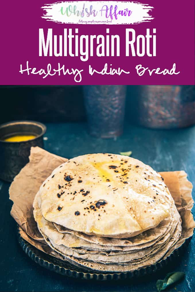Looking to make healthy Multigrain Roti? Here are a few tips and tricks on how to make perfect Multigrain Roti at home. Pair it with any Indian curry or Dal for a hearty meal. #Healthy #Bread #Indian #Multigrain #Vegetarian #Vegan