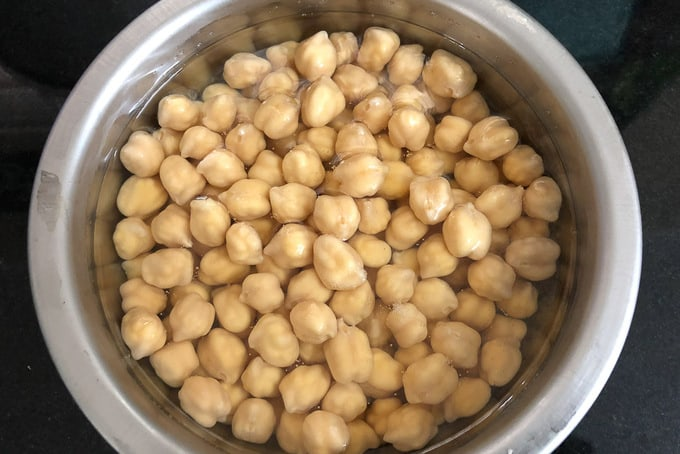Chole soaked in water.