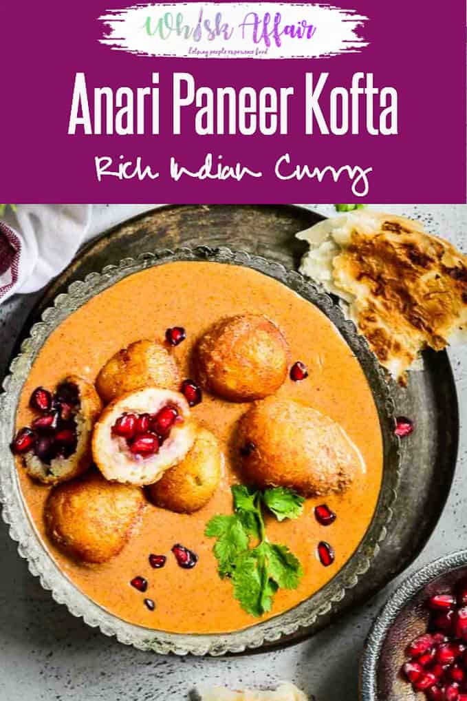 Anari Paneer Kofta has a signature taste of pomegranate seeds rolled as balls with paneer, khoya, spices,potatoes which are served in a toothsome gravy. #Indian #Curry #Gravy #Paneer #Kofta #Rich #Festival #Pomegranate