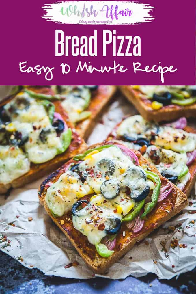 Bread Pizza makes for a delicious breakfast or snacking option and can be made using basic ingredients which are mostly available at home. #Pizza #Homemade #Vegetarian #Bread #easy #Best