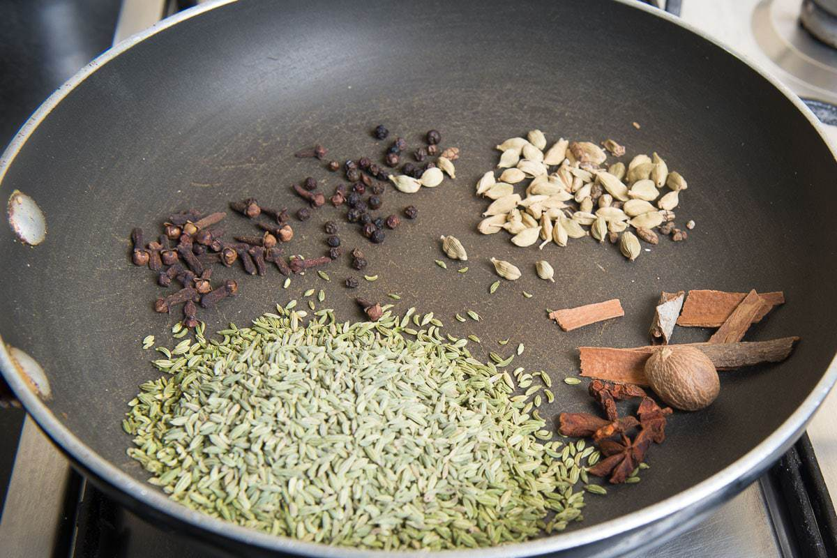 Dry roasting the ingredients