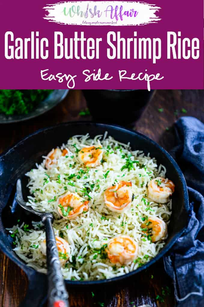Garlic Butter Shrimp Rice is a one-pot easy recipe which is perfect to make for weekday dinner. It's delicious, filling & quick to make. Here is a simple recipe to make it. #DinnerIdea #WeekdayDinner #ShrimpRecipe #PrawnRecipe #EasyDinnerRecipes #RiceRecipes #ShrimpRecipes #OnePotRecipes #OnePanRecipes