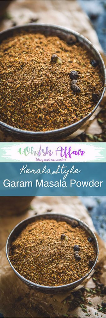 A fine mix of roasted spices like black peppercorn, star anise, nutmeg and more, Kerala Garam Masala changes your ordinary curry or dal in a whiff!. Use in Kerala Style recipes or the regular recipes. #IndianSpiceMix #IndianSpicePowder #SpiceMix #Homemade #GaramMasalaPowder