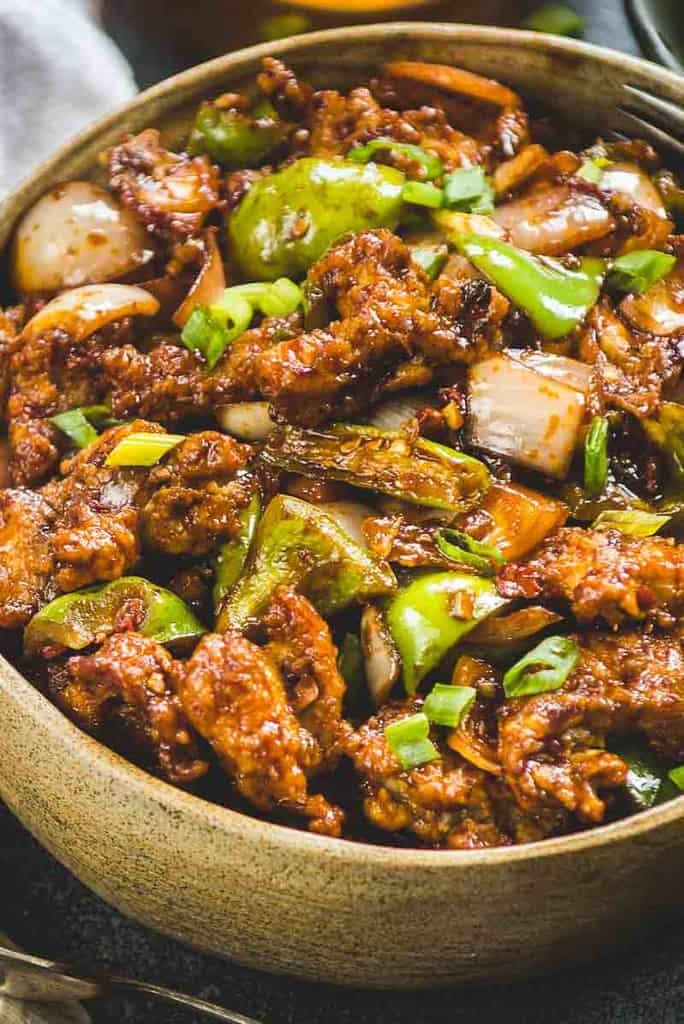 Close up view of chilli chicken dry