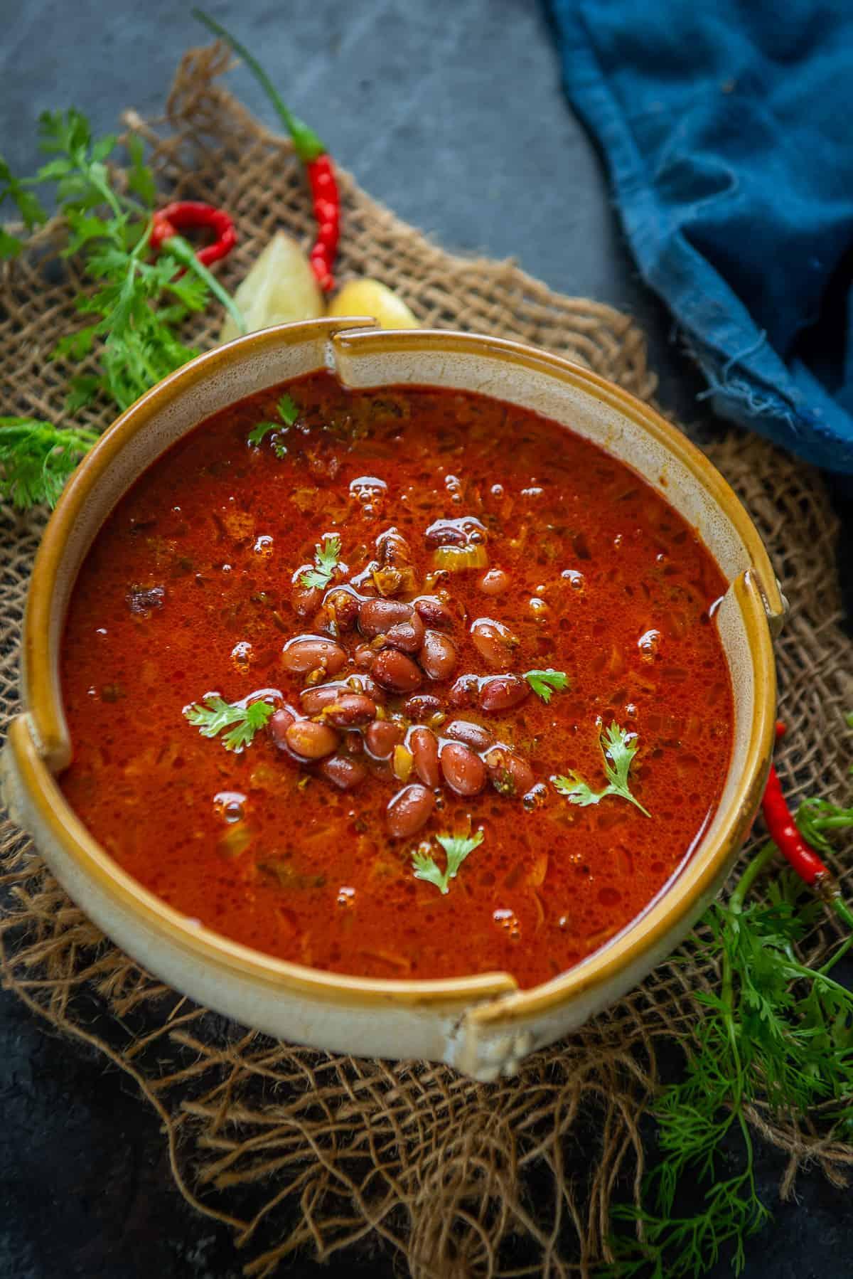 Kashmiri Rajma served in a bowl.