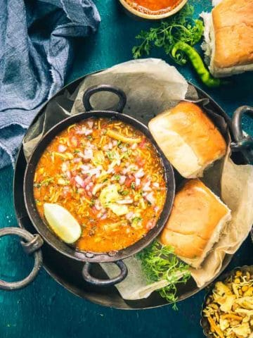 Enjoy this Maharashtrian Mix Beans Misal Pav Recipe with a side of Pav. It's a great dish for breakfast and brunch and is healthy as well