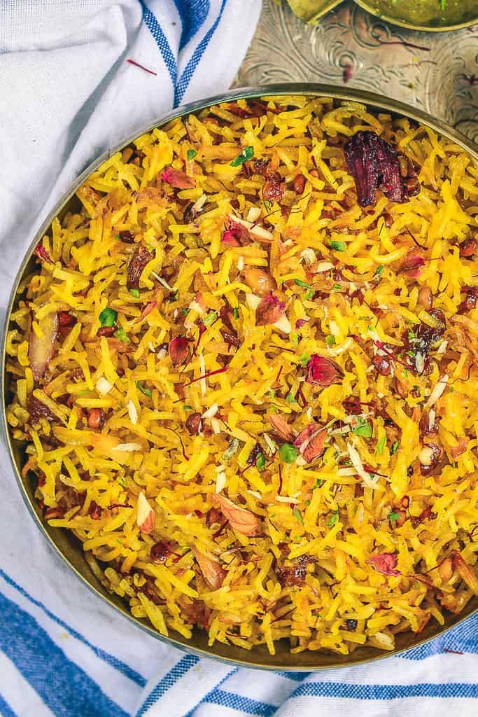 sweet saffron rice, sweet rice, pakistani sweet rice