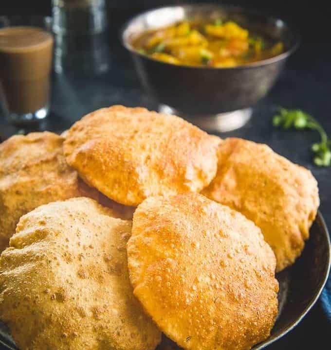 Bedmi Poori served in a plate.