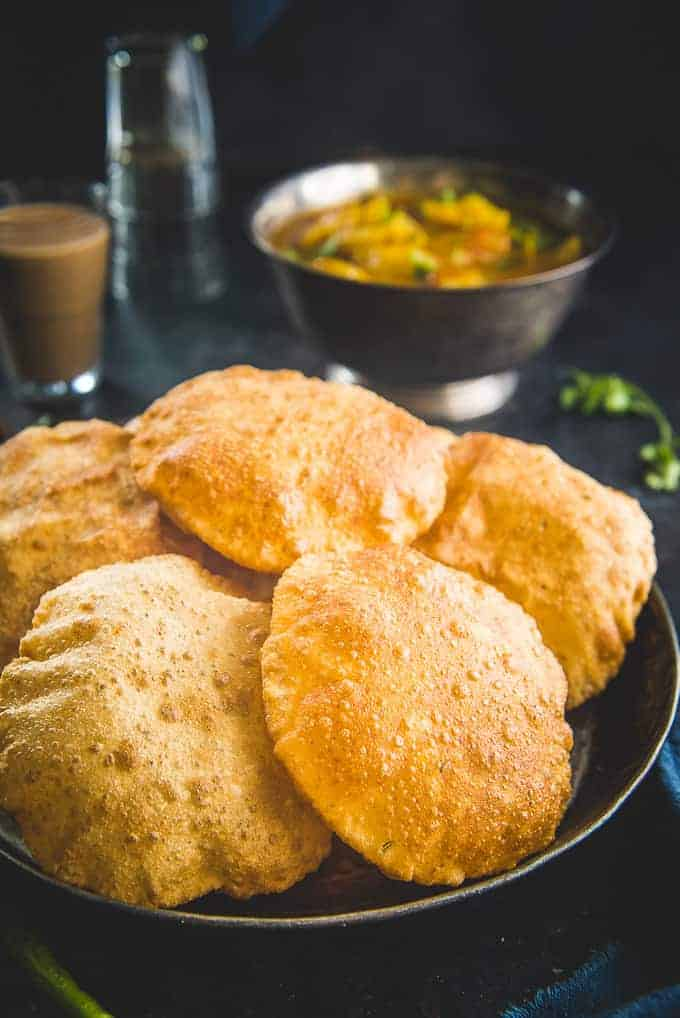 Bedmi Puri served in a plate.