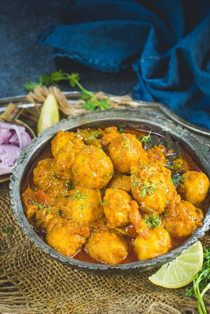 Bengali Dum Aloo served in a bowl.