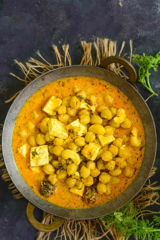Chana Madra served in a bowl.