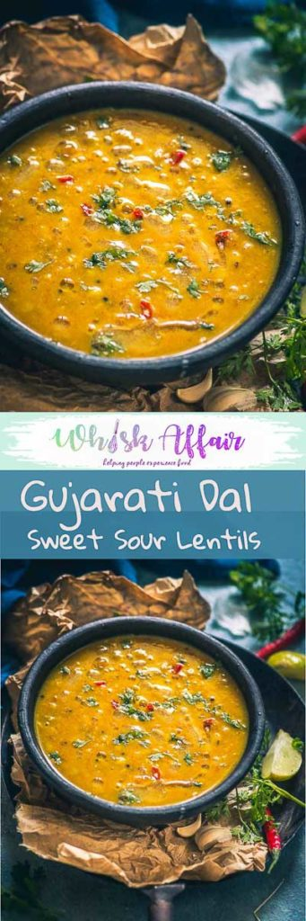 Served with a dollop on ghee on the steamed rice or with piping hot phulkas, Gujarati Dal ends up making that perfect lighthearted meal you are craving for! #Lentil #Recipe #Indian