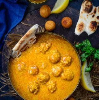 Gulab Jamun ki Sabji served in a bowl.