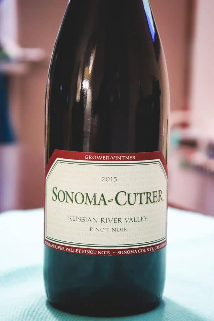 Bottle of Sonoma Cutrer wine