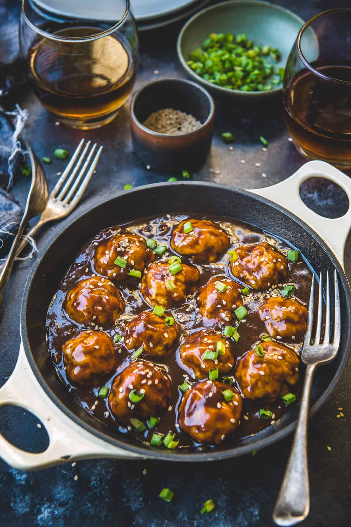 Honey Garlic Meatballs in a pan.