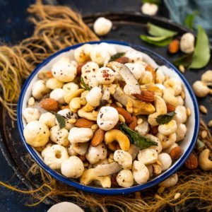 Makhana Namkeen is a delicious snack that can be served at tea time or can be munched throughout the day. It is low fat, healthy, and gluten-free and can be served for vrat (Hindu fasting days) as well. Here is how to make it.