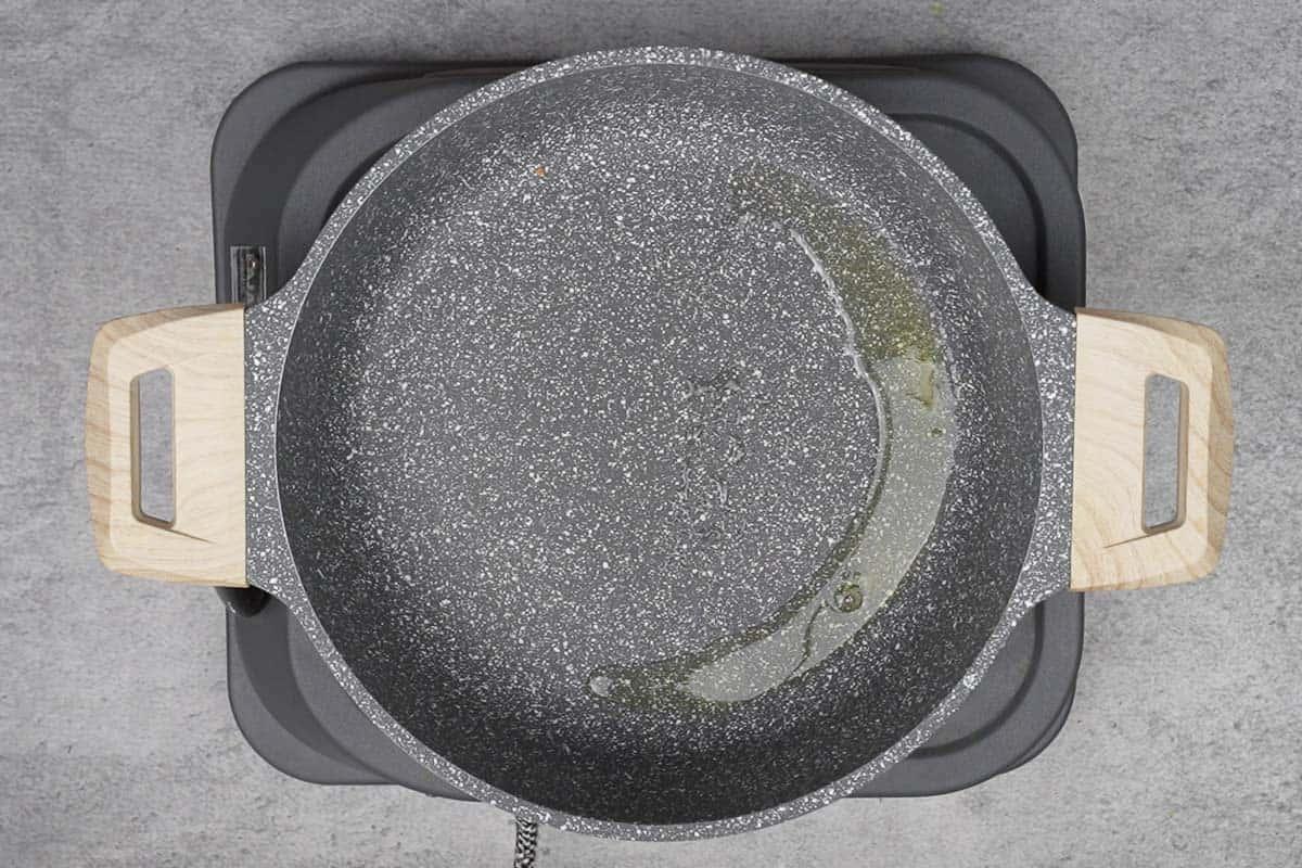 Remaining ghee heating in the pan.
