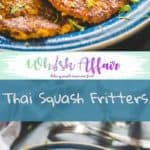 Thai Squash Fritters are delicious appetizers made using yellow squash and thai red curry paste. These are perfect as holiday appetizers. #AppetizerRecipes #SquashRecipes #HolidayRecipes
