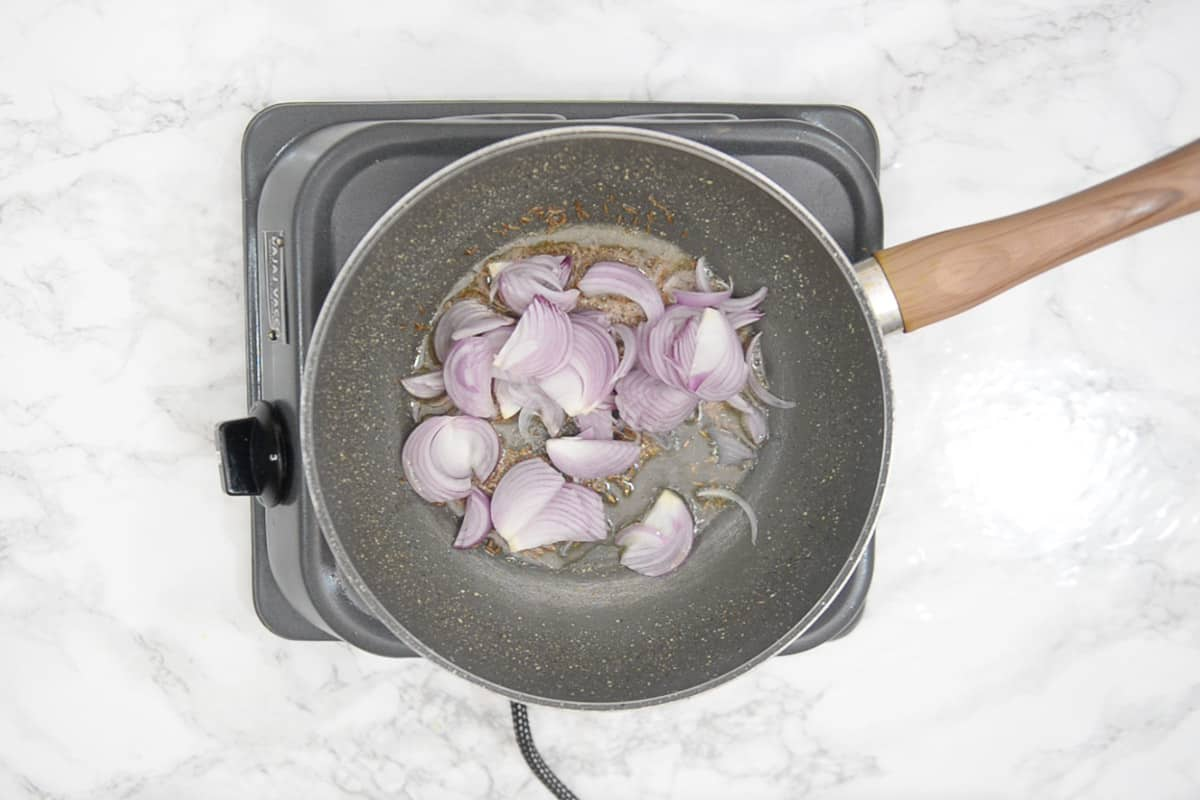 Onion added in the pan.