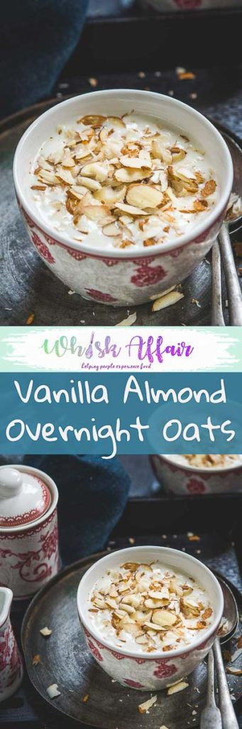 Vanilla Almond Overnight Oats makes for a deliciously healthy breakfast in just 5 minutes. Make it a night before and eat this healthy treat for your breakfast. #Healthy #Breakfast #Oats