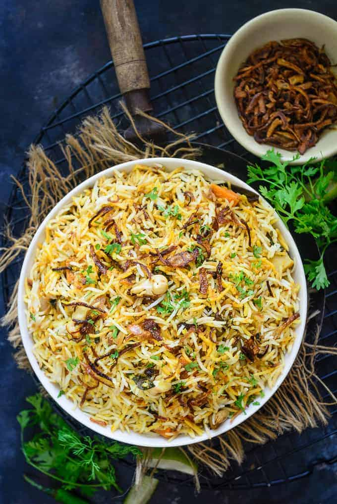 Veg Biryani served in a bowl.