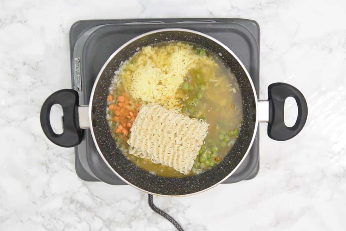 Water added in the pan.