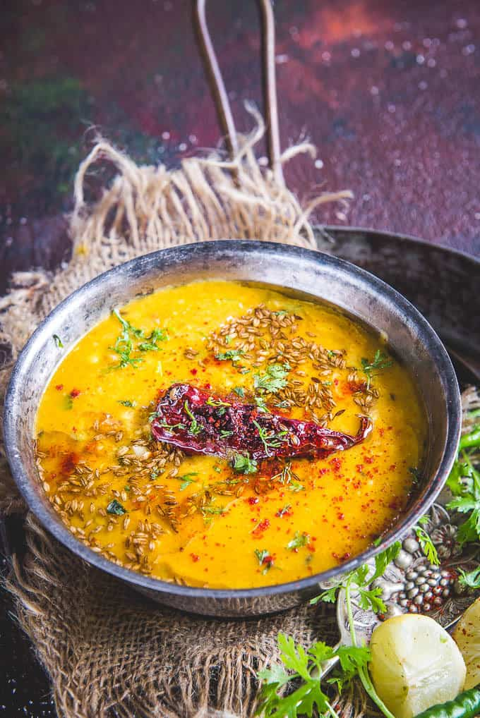 Dal tadka served in a bowl.