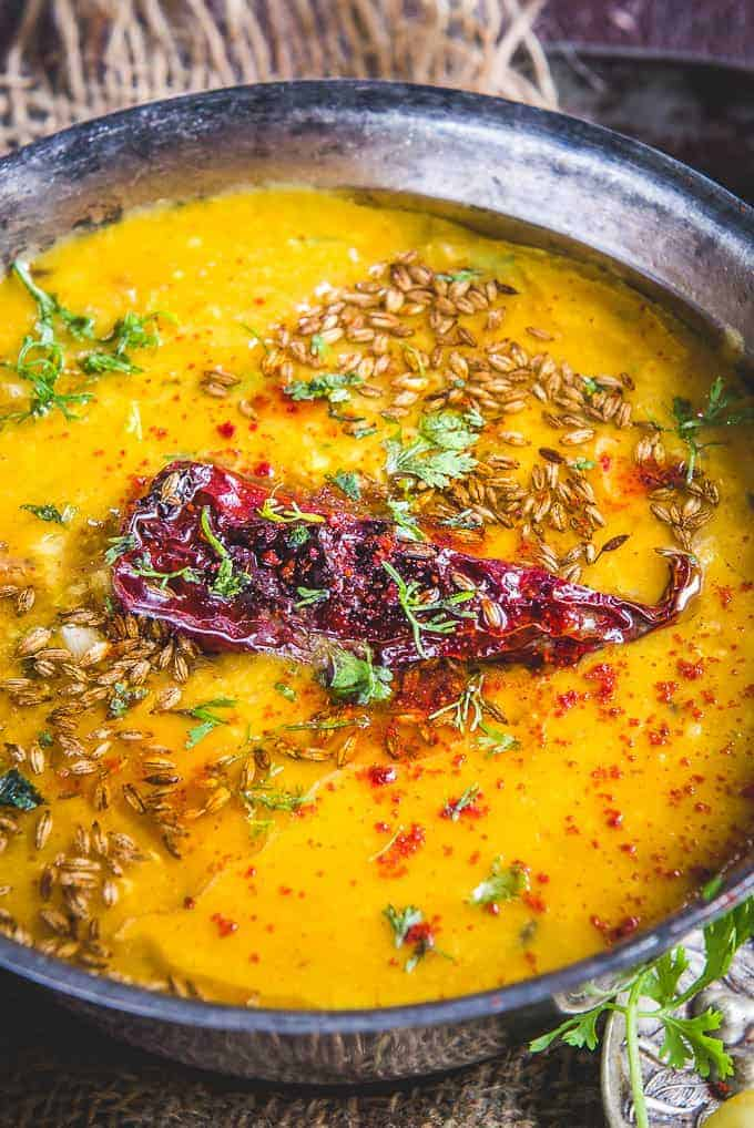 Close up shot of Dal Tadka Recipe.