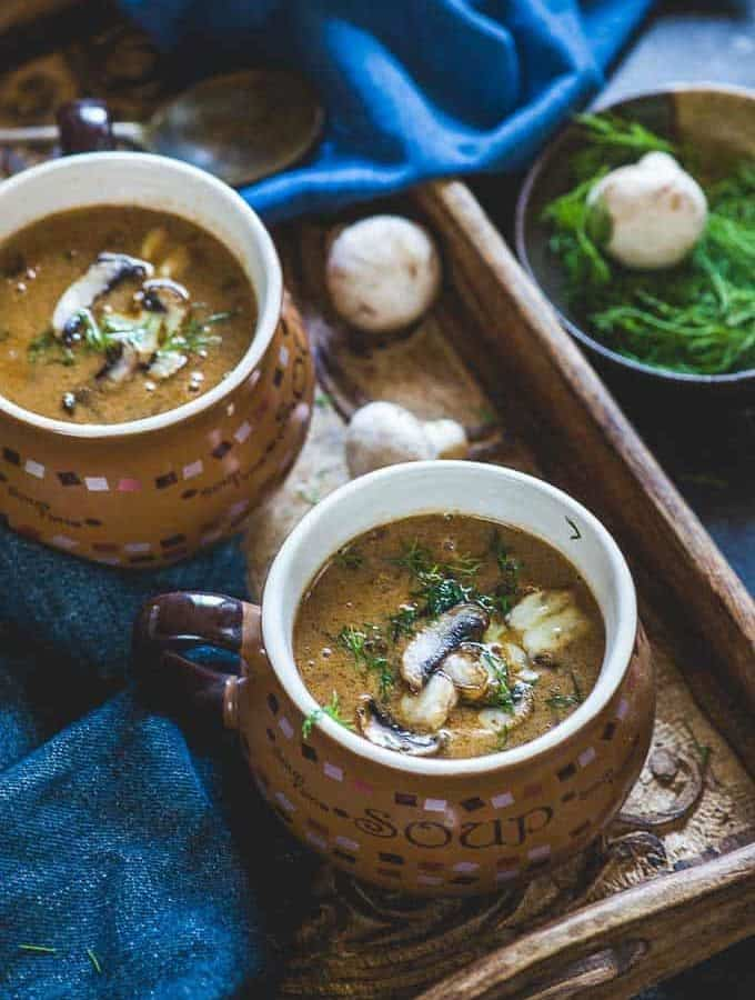 Hungarian Mushroom soup served in two soup bowls
