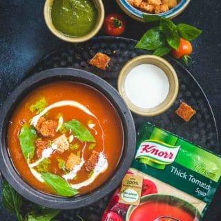 Tomato Soup with Basil Twist