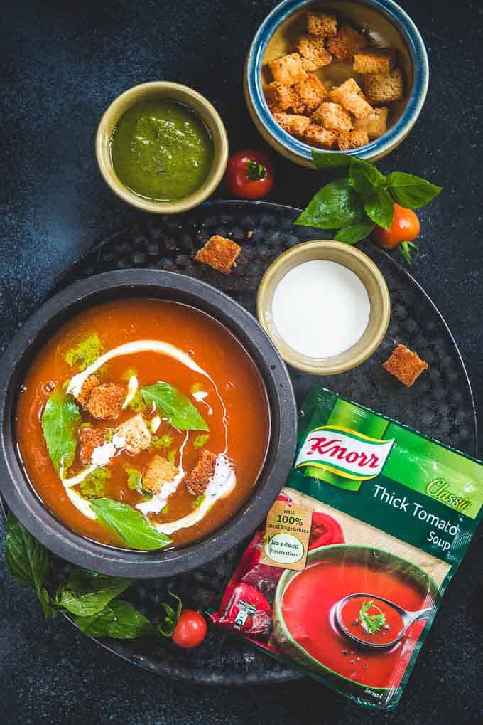 Knorr Thick Tomato Soup with Basil twist served in a bowl