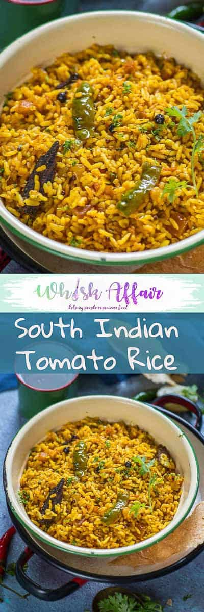Tomato Rice is a delicious South Indian style rice recipe which is super quick to make. make it for breakfast, lunch or dinner, it fits it all. #Rice #Recipes #Tomato