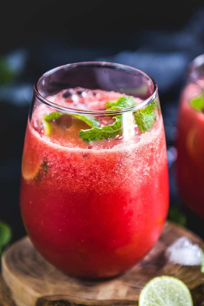 Close up view of watermelon ginger juice