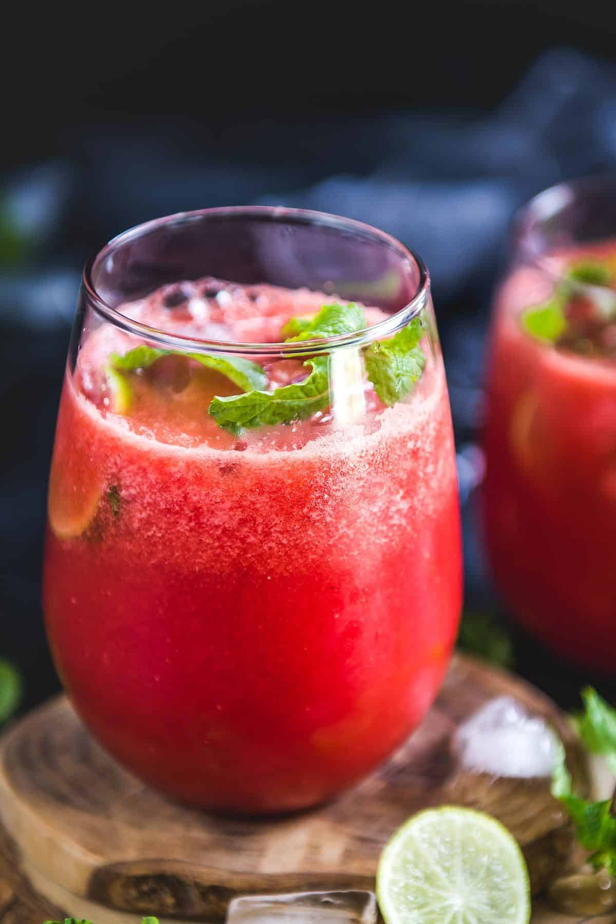 Watermelon Ginger Juice served in a glass.