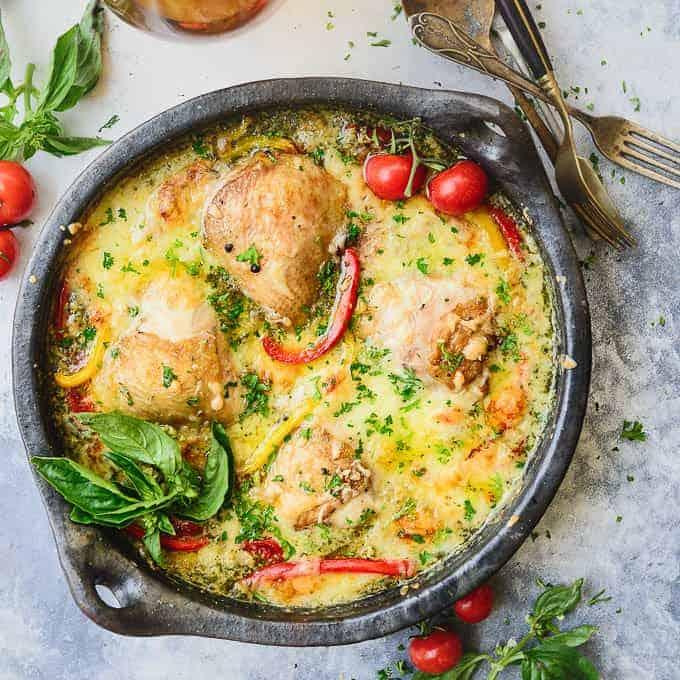 Creamy Baked Pesto Chicken Thighs Recipe Step By Step Whiskaffair