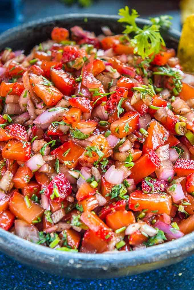 Close up shot of best balsamic strawberry salsa recipe