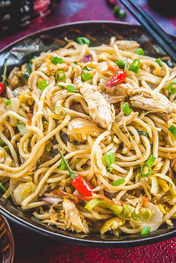 Close up shot of Hakka Noodles