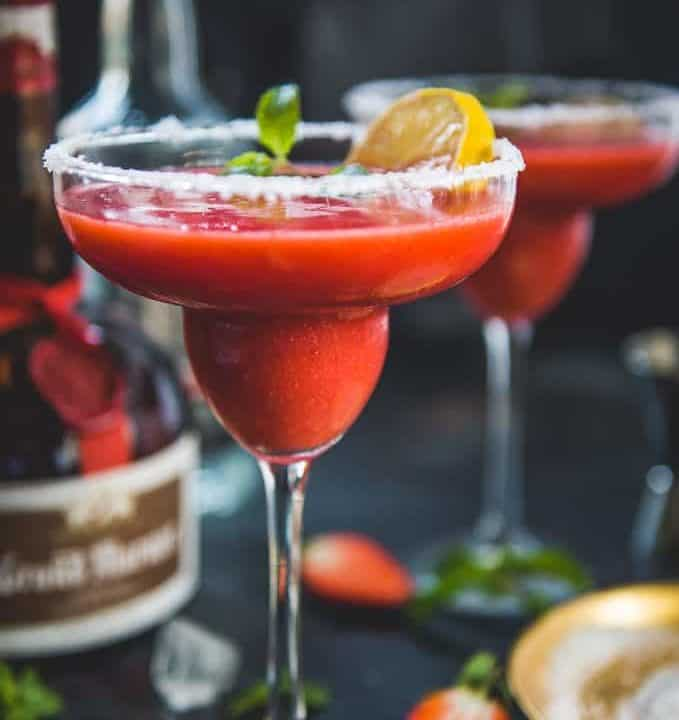 Strawberry Margarita served in a glass.
