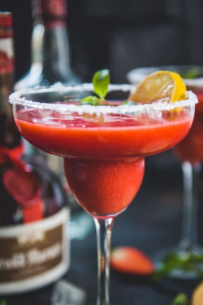 Close up shot of Frozen Strawberry Margarita Recipe