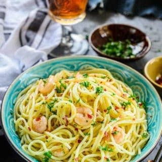 Garlic Shrimp Pasta Aglio E Olio served in a bowl