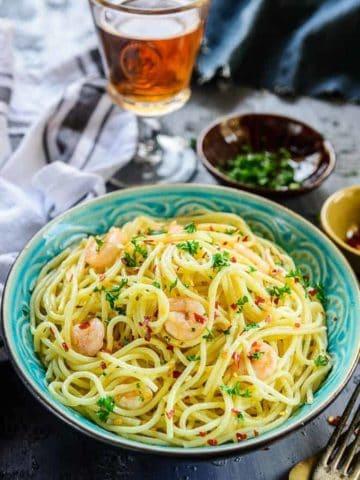 Garlic Shrimp Pasta Aglio E Olio served in a bowl