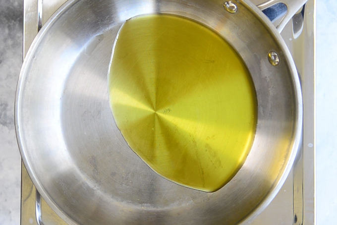 Extra Virgin Olive oil heating in a pan