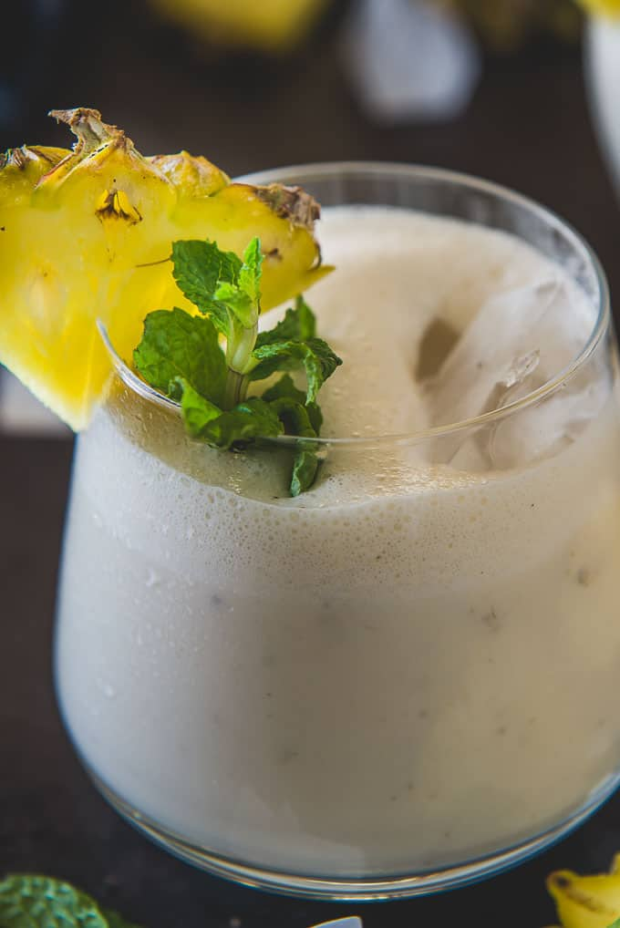 Close up shot of Pineapple banana Smoothie recipe