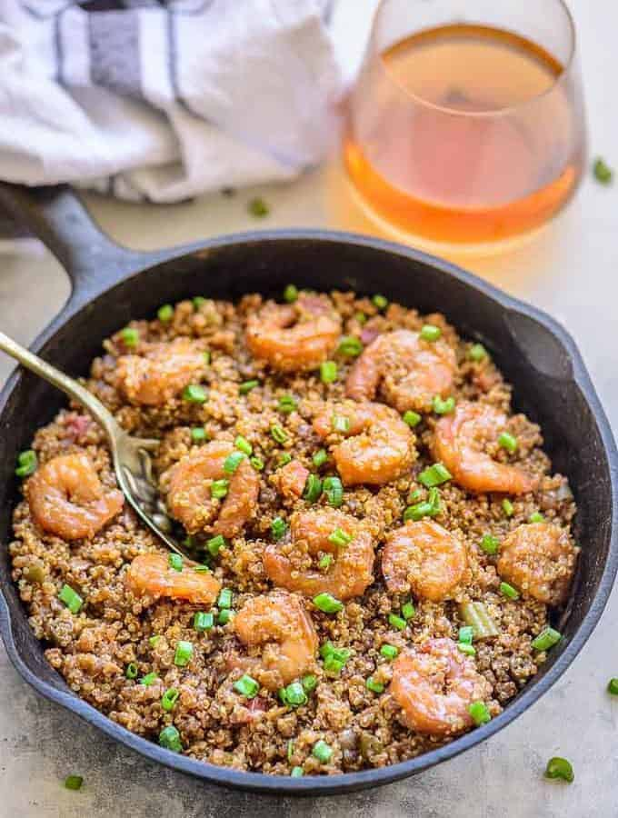 Shrimp Quinoa Fried rice served in a serving pan