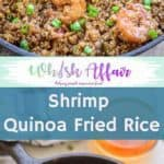 This 10 minutes Shrimp Quinoa Fried Rice is just like your favourite take away fried rice and is loaded with healthy ingredients. Make it for a guilt free indulgence. Here is how to make it. #Healthy #Dinner #Ideas