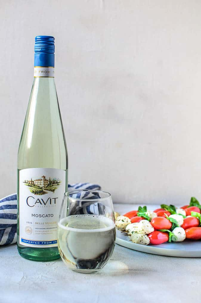 Balsamic Caprese Skewers paired with Cavit Wine